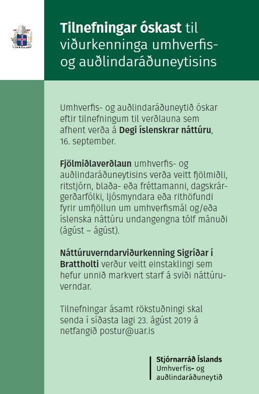Tilnefningar til verðlauna á Degi íslenskrar náttúru 2019